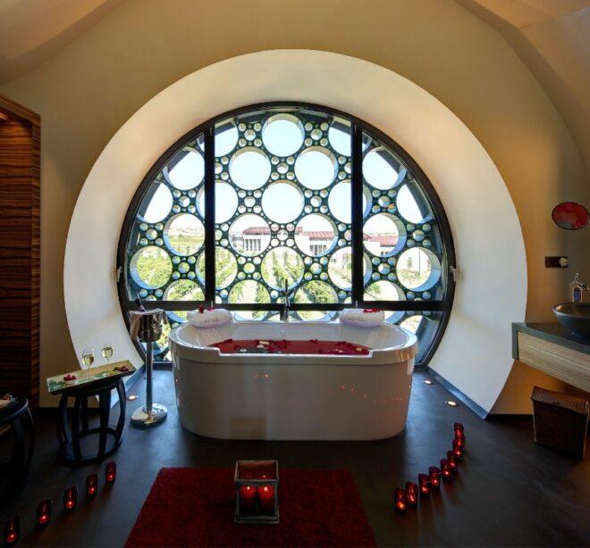 espacios y vistas baño suite Mastinell hotel con bodega
