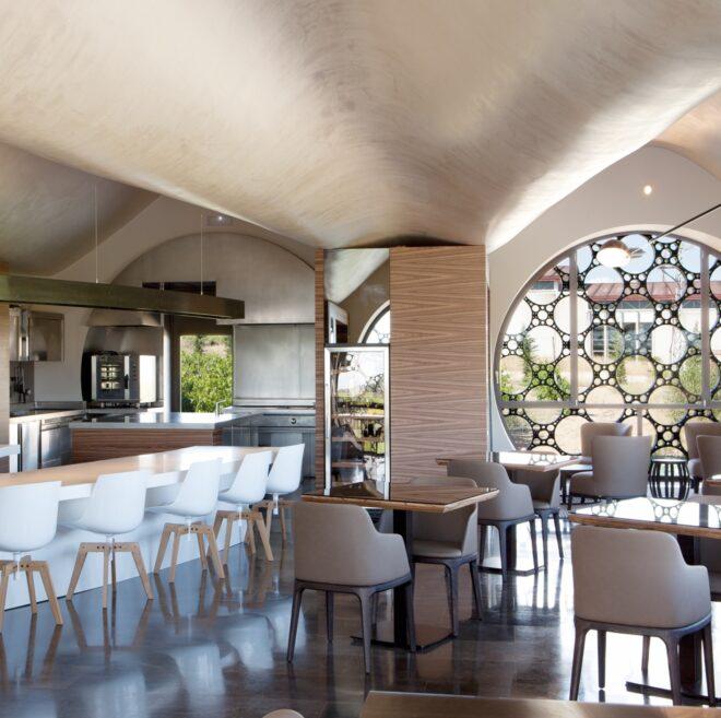 vistas restaurante En Rima Mastinell hotel con bodega